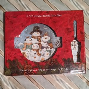 Other - Christmas Cake Plate and Serving Knife